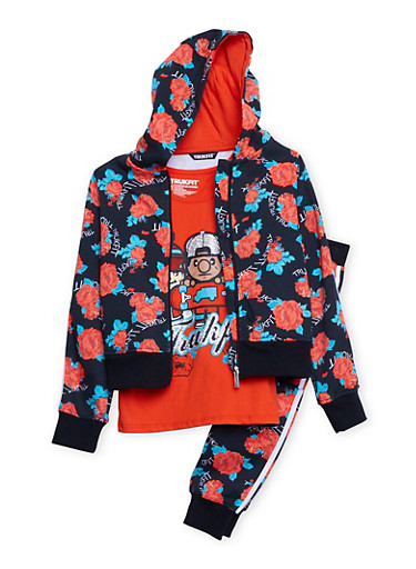 Girls 7-12 Trukfit Graphic T-Shirt with Floral Print Sweatsuit Set,RED,large