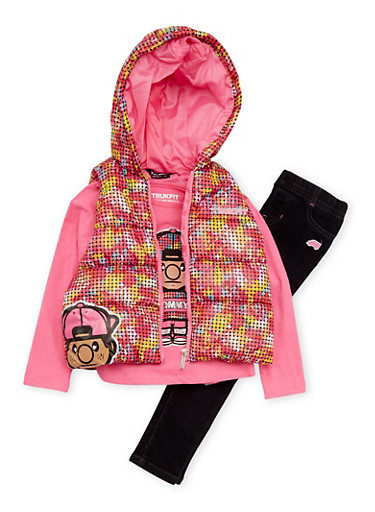 Girls 7-12 Trukfit Vest with Top and Jeans Set,FUCHSIA,large