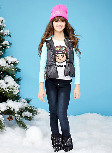 Girls 7-12 Trukfit Puffer Vest and Graphic Top with Jeggings Set,BLACK,large