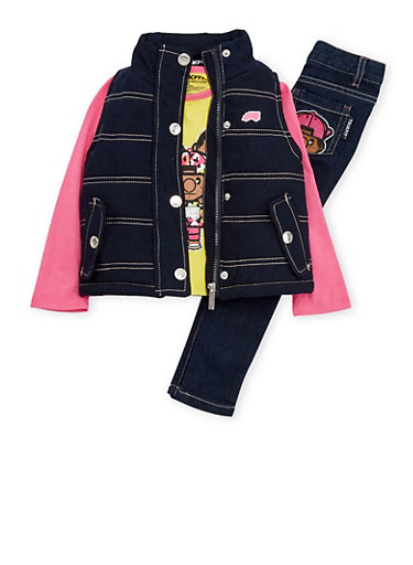 Girls 7-12 Trukfit Top with Vest and Jeans Set,YELLOW,large