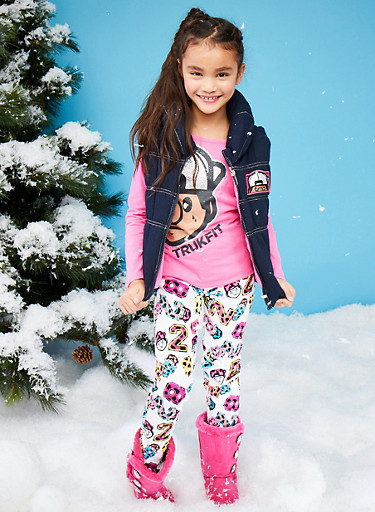 Girls 7-12 Trukfit Top and Denim Puffer Vest with Pants Set,FUCHSIA,large