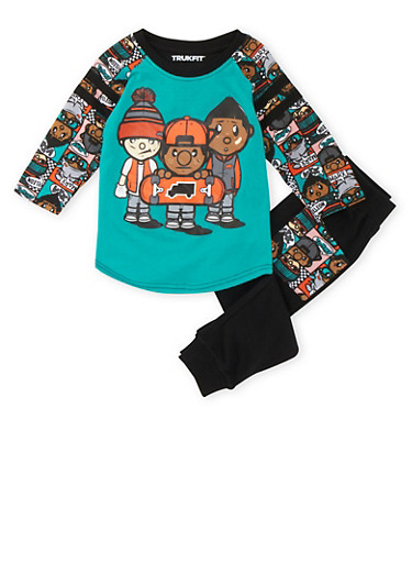 Boys 4-7x Trukfit Graphic Long Sleeve Top and Joggers Set with Skateboard Print,TEAL,large