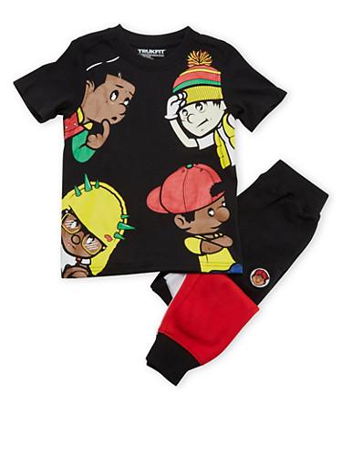 Boys 4-7x Trukfit T-Shirt and Joggers Set,BLACK,large