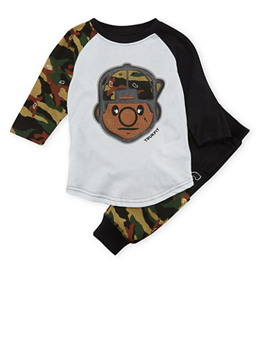 Boys 4-7x Trukfit Graphic Top and Camo Joggers Set,BLACK,large