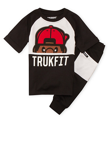 Boys 4-7x Trukfit Graphic Tee and Joggers Set,BLACK,large