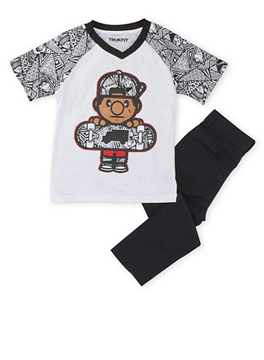 Boys 4-7x Trukfit Lil Tommy Geo Graphic Tee and Skinny Jeans,BLACK,large