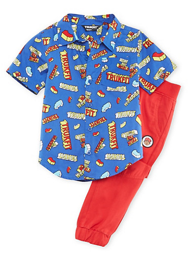 Boys 4-7x Trukfit Button-Up and Joggers Set,RED,large