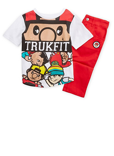 Boys 4-7x Trukfit T-Shirt and Jeans Set,RED,large