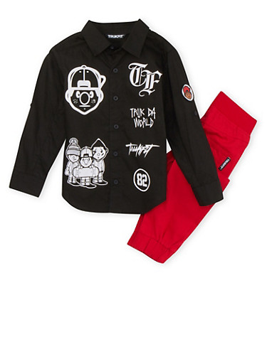 Boys 4-7x Trukfit Button Front Top with Denim Joggers Set,RED,large