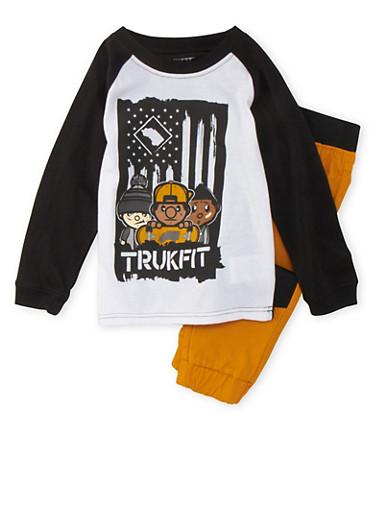 Boys 4-7x Trukfit T-Shirt and Joggers Set,MUSTARD,large