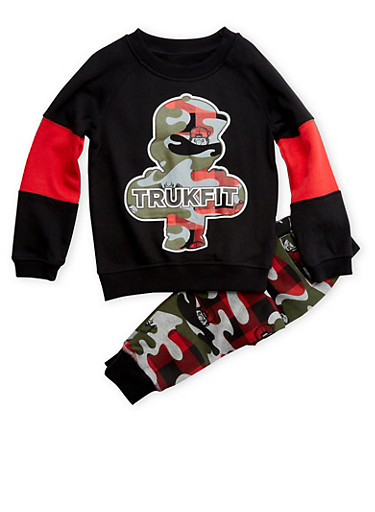 Boys 4-7x Trukfit Sweatshirt and Sweatpants Set,BLACK,large