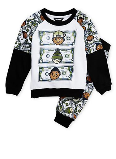 Boys 4-7x Trukfit Fleece Sweatsuit Set with Money Print,BLACK,large
