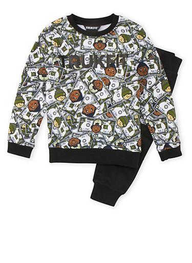 Boys 4-7x Trukfit Money Print Sweatshirt and Sweatpants Set,BLACK,large