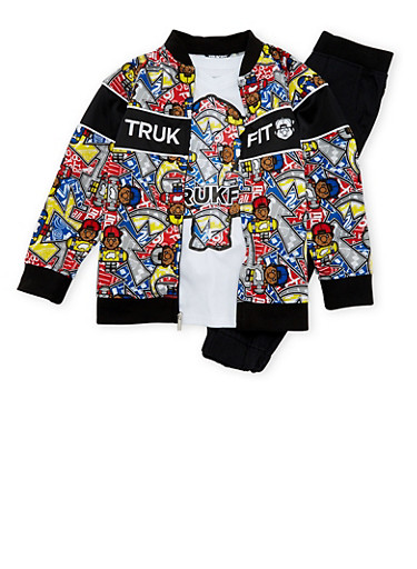 Boys 4-7x Trukfit Bomber Jacket with T-Shirt and Joggers Set,BLACK,large