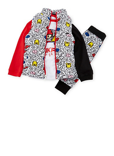 Boys 4-7x Trukfit Knit Vest and Graphic Tee with Joggers Set,BLACK,large