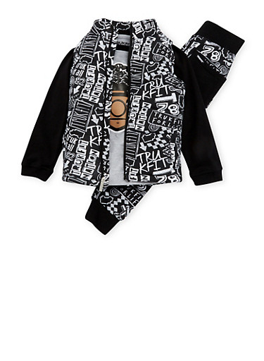 Boys 4-7x Trukfit Shirt with Vest and Joggers Set,BLACK,large