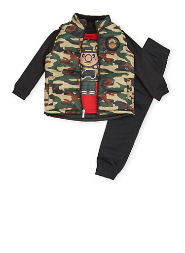 Boys 8-20 Trukfit Three Piece Set with Camouflage Print,BLACK,large