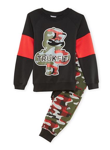 Boys 8-12 Trukfit Sweatshirt and Joggers Set,BLACK,large