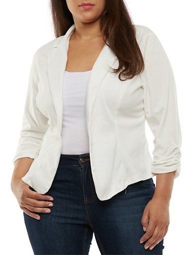 Plus Size One Button Blazer with Ruched Sleeves,IVORY,large