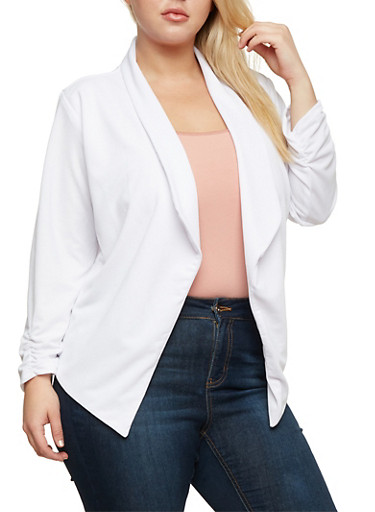 Plus Size Open Front Blazer with Ruched Sleeves,WHITE,large