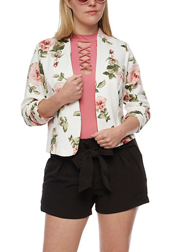 Plus Size Floral Blazer with Ruched Sleeves,IVORY  10408,large
