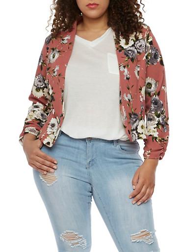 Plus Size Floral Textured Knit Blazer,MAUVE,large