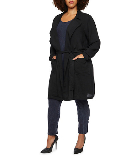 Plus Size Belted Trench Coat,BLACK,large