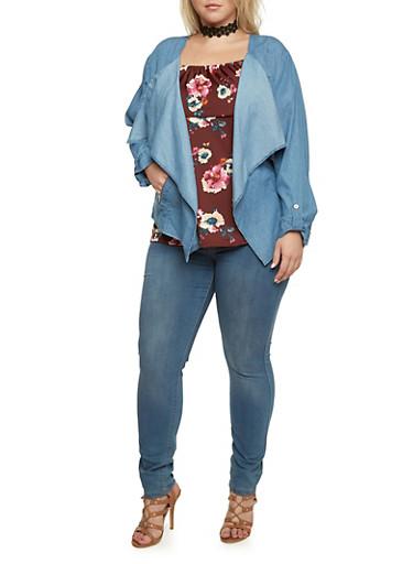Plus Size Draped Open Front Jacket in Denim,MEDIUM WASH,large
