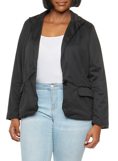 Plus Size Solid Blazer with Flap Pockets,BLACK,large
