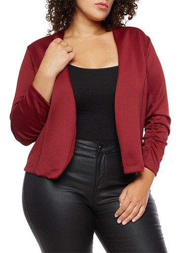 Plus Size Open Front Ruched Sleeve Blazer,BURGUNDY,large