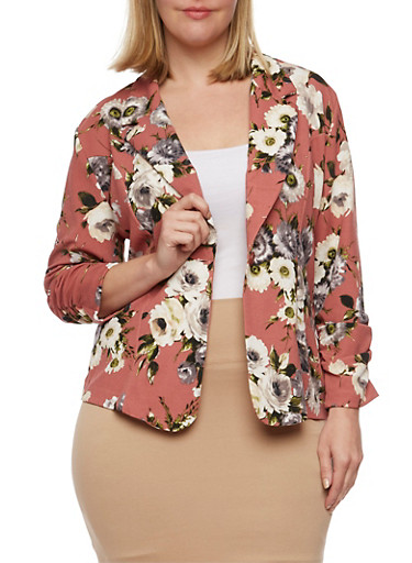 Plus Size Floral Blazer with Ruched Sleeves at Rainbow Shops in Daytona Beach, FL   Tuggl
