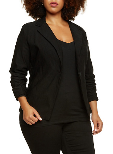 Plus Size Ruched Sleeve Blazer with Single Button,BLACK,large