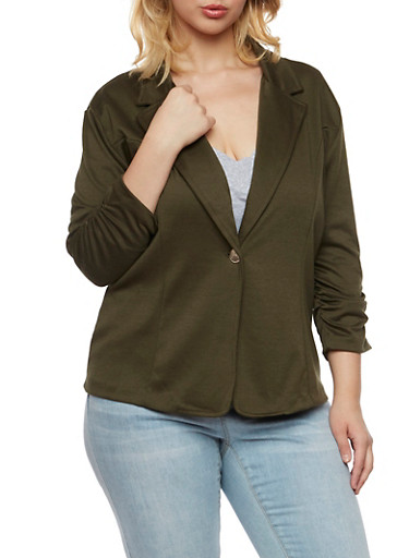 Plus Size Blazer with Ruched Elastic Sleeves,DK OLIVE,large