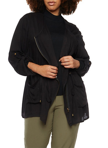 Plus Size Lightweight Jacket with Asymmetrical Zip,BLACK,large