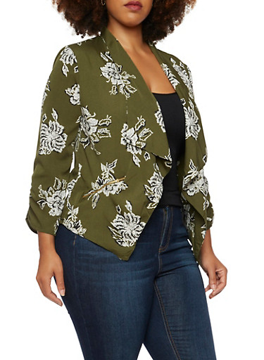 Plus Size Draped Blazer in Floral Print,OLIVE,large