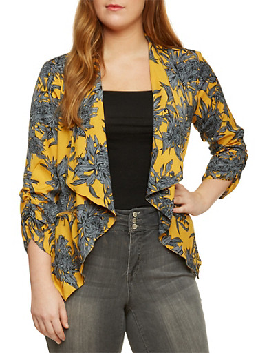 Plus Size Floral Jacket with Draped Lapel,MUSTARD/ROYAL,large