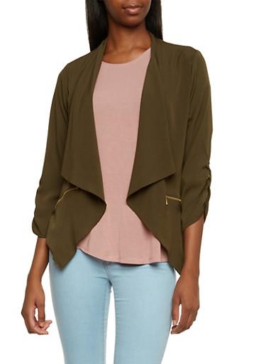 Plus Size Jacket with Draped Shawl Collar,OLIVE,large