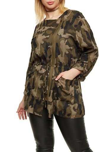 Plus Size Camo Jacket with Drawstring Waist,OLIVE,large