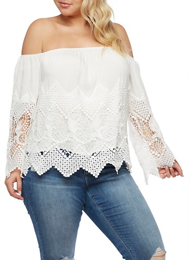 Plus Size Off the Shoulder Crochet Top,WHITE,large