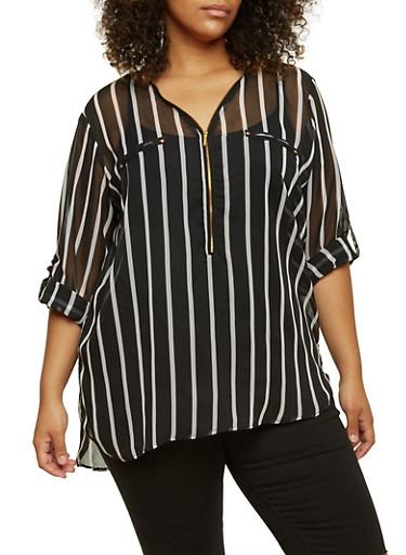 Plus Size Striped Chiffon Top,BLACK/WHITE,large