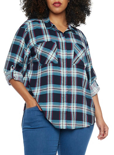 Plus Size Plaid Shirt,BLACK,large