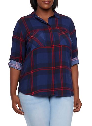 Plus Size Plaid Shirt,NAVY,large
