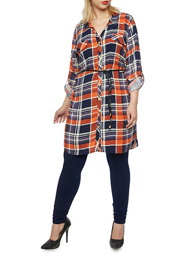 Plus Size Plaid Tunic Top with Belt,NAVY,large