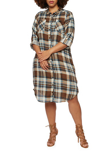 Plus Size Plaid Shirt Dress with Zippered Sides,BROWN,large