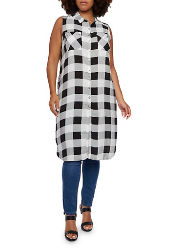 Plus Size Check Tunic with Side Zips,BLACK/WHITE,large