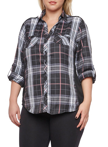 Plus Size Plaid Top with Ribbed Insets,BLACK,large