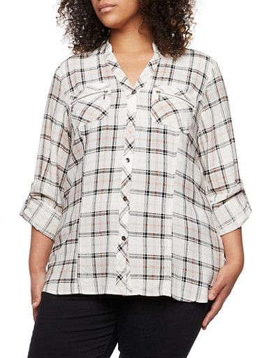Plus Size Plaid Button-Down Top with Mandarin Collar,IVORY,large
