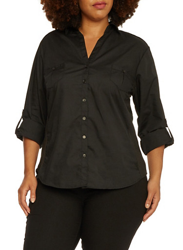 Plus Size Button-Up Top with Rib-Knit Side Insets,BLACK,large