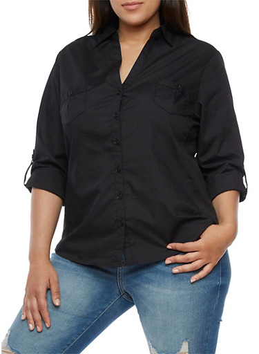 Plus Size Button Front Top with Rib Knit Sides,BLACK,large