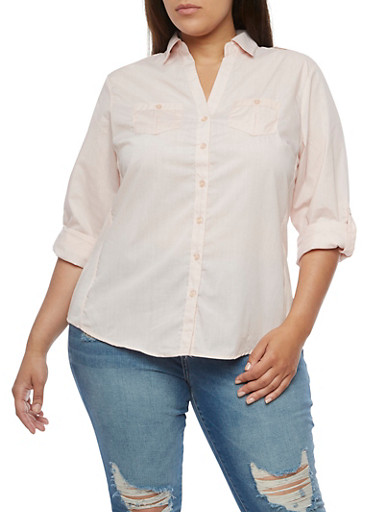 Plus Size Button Front Top with Rib Knit Sides at Rainbow Shops in Daytona Beach, FL | Tuggl